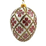 Faberge Inspired- Jeweled Egg Glass Ornament - Four Leaf Clover Red on White