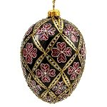 Faberge Inspired- Jeweled Egg Glass Ornament - Four Leaf Clover Red on Black