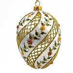 Faberge Inspired- Jeweled Egg Glass Ornament - Floral Striped