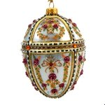 Faberge Inspired- Jeweled Egg Glass Ornament - Light Blue