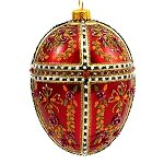 Faberge Inspired- Jeweled Egg Ornament - Red