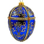 Faberge Inspired- Jeweled Egg Glass Ornament - Blue